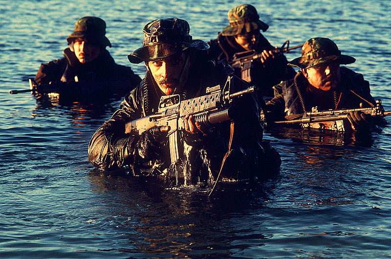 US Navy SEALs coming out of the water