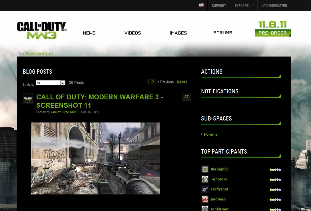 Call of Duty Modern Warfare 3 website