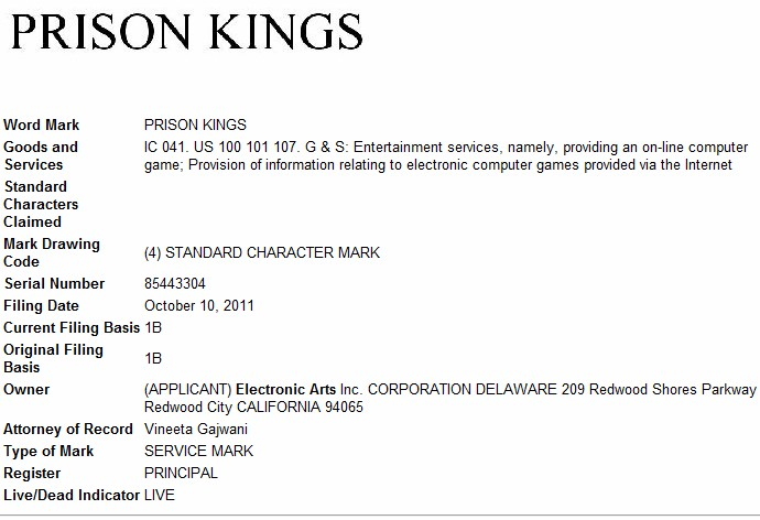 Prison Kings trademark