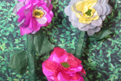multi-length standing, giant tissue paper flowers