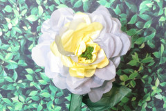 gray and yellow standing tissue paper flower