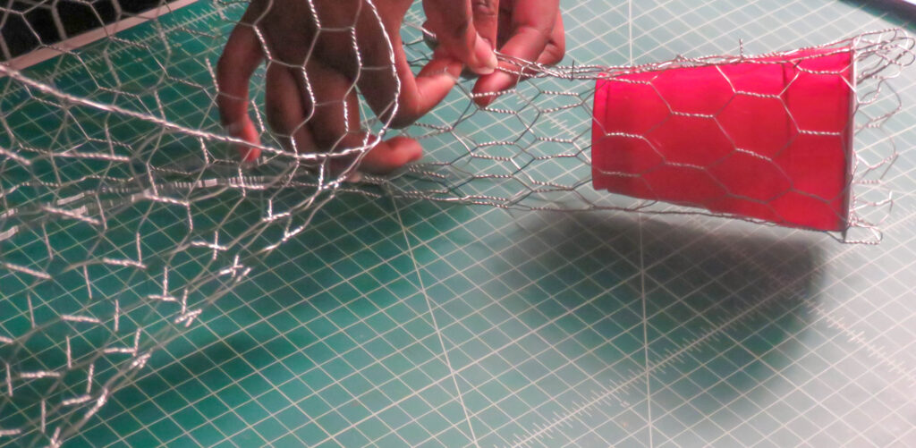 chicken wire stem for tissue paper flowers