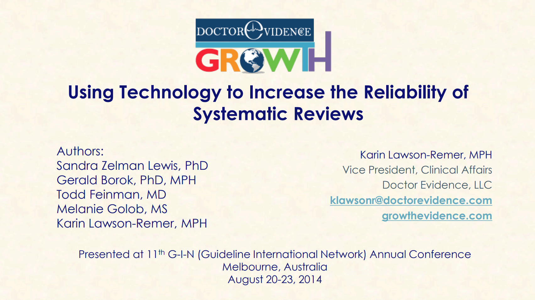 Using Technology to Increase the Reliability of Systematic Reviews.