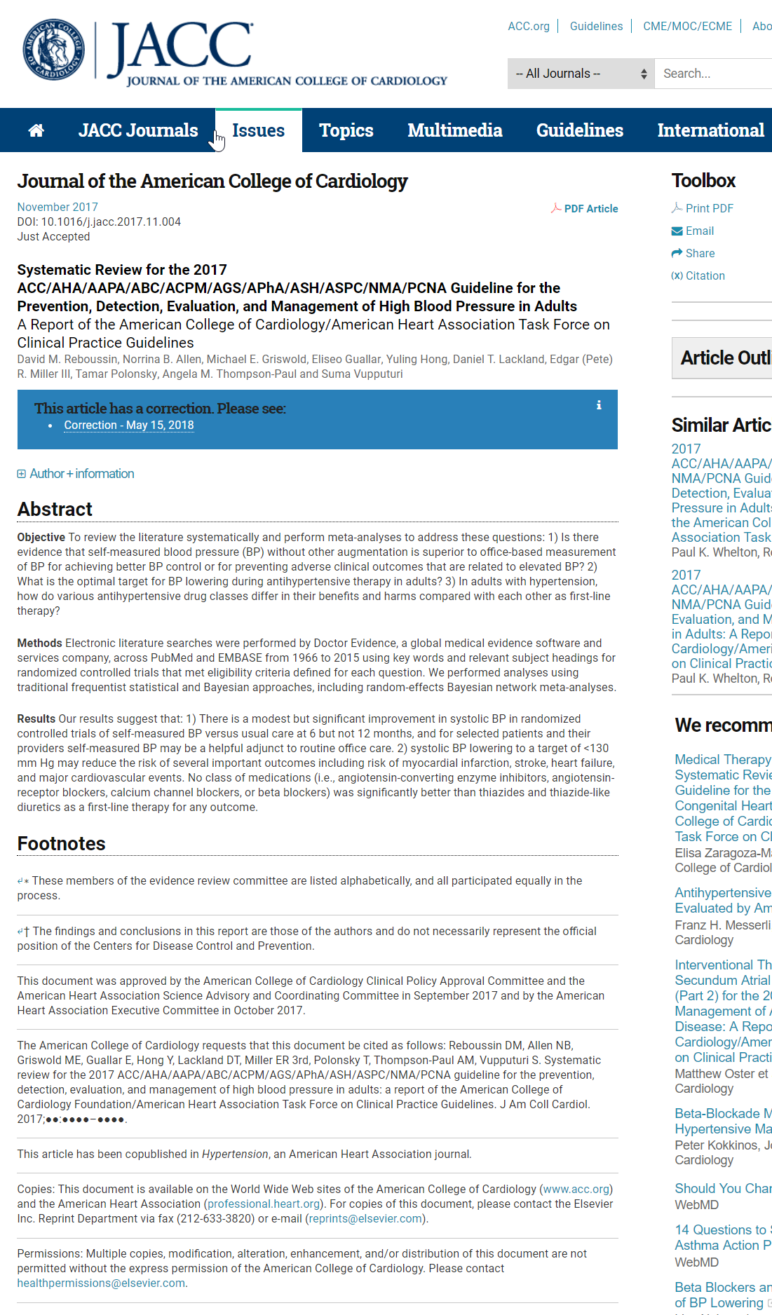 Systematic Review-Guideline for the Prevention, Detection, Evaluation