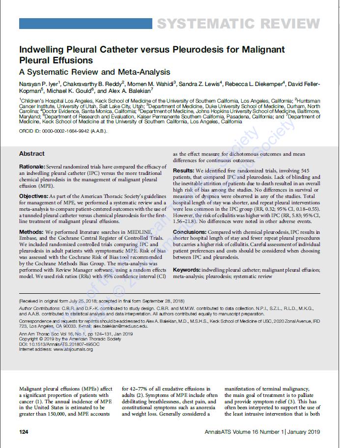 Indwelling Pleural Catheter versus Pleurodesis-udated