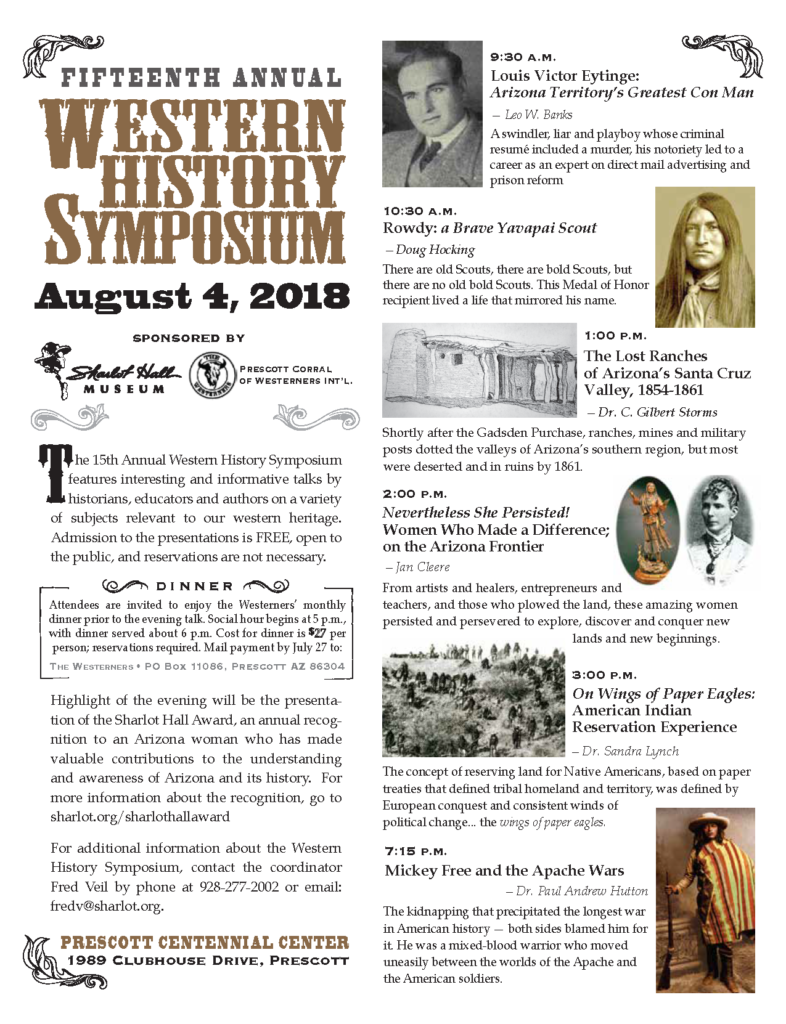 15th Annual Western History Symposium @ City of Prescott Centennial Center | Prescott | Arizona | United States