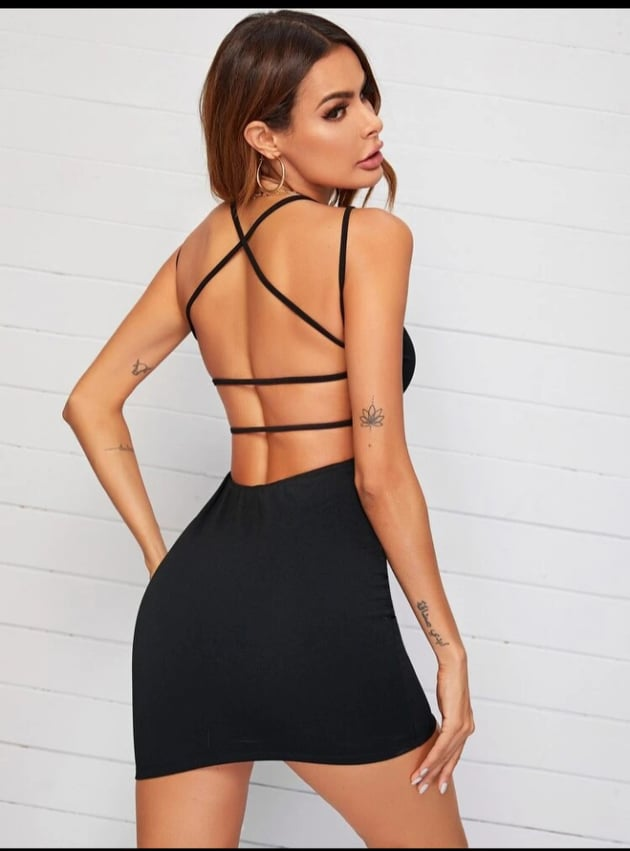 Black Crisscross Open Back Dress