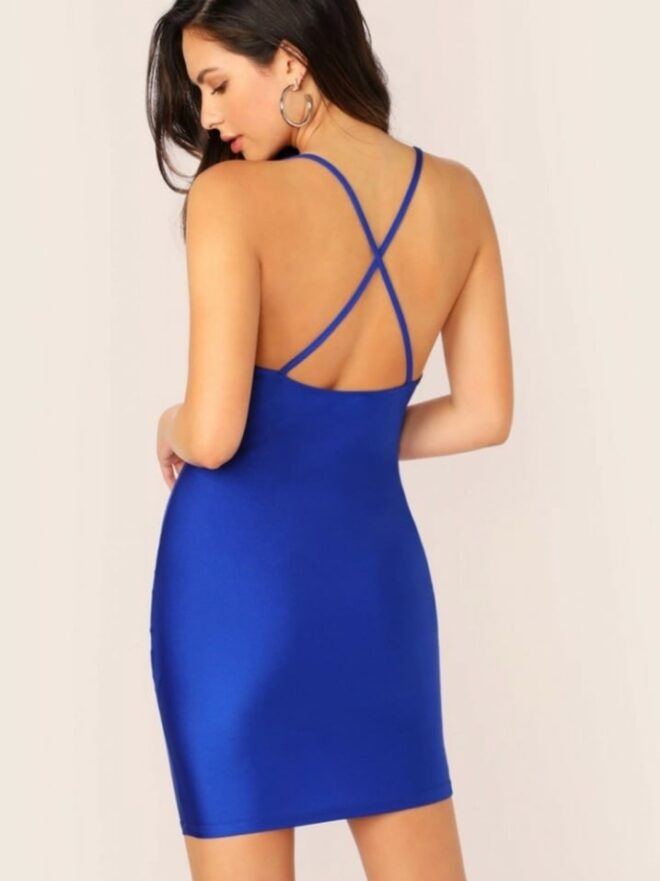 Royal Blue Crisscross Bodycon Dress