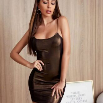 Solid Metallic Bodycon Dress
