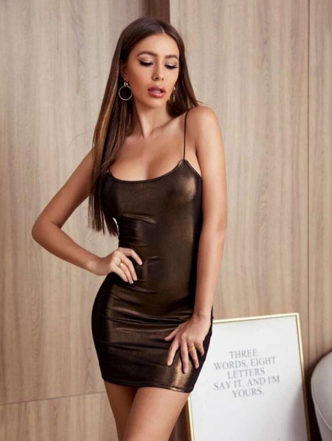 Solid Metallic Bodycon Dress