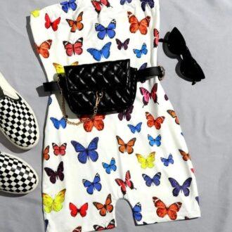 Butterfly Print Tube Romper