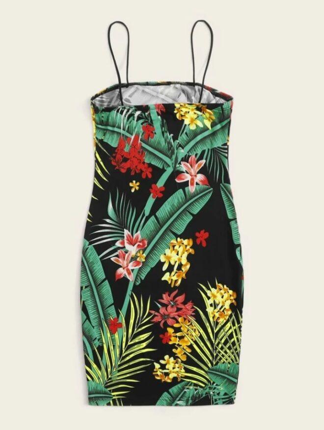 Tropical Print Slip Dress