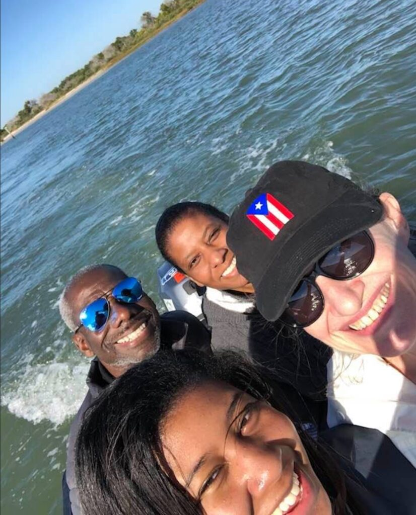 Family on dinghy ride