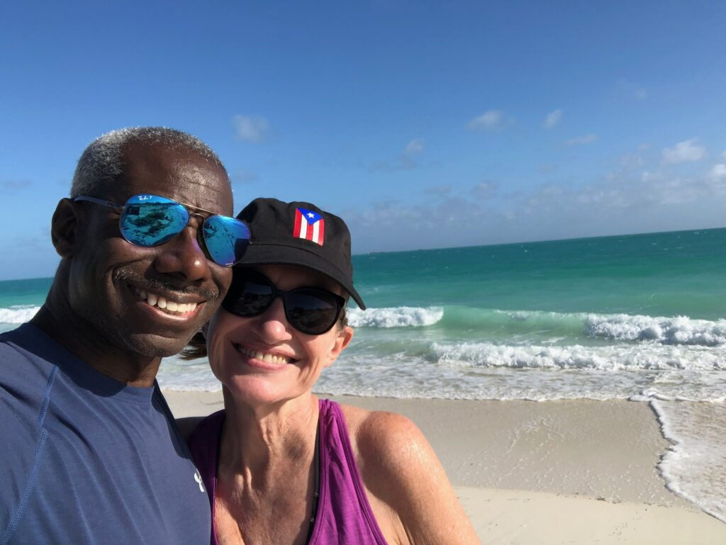 Allan and Lavonne on a beach