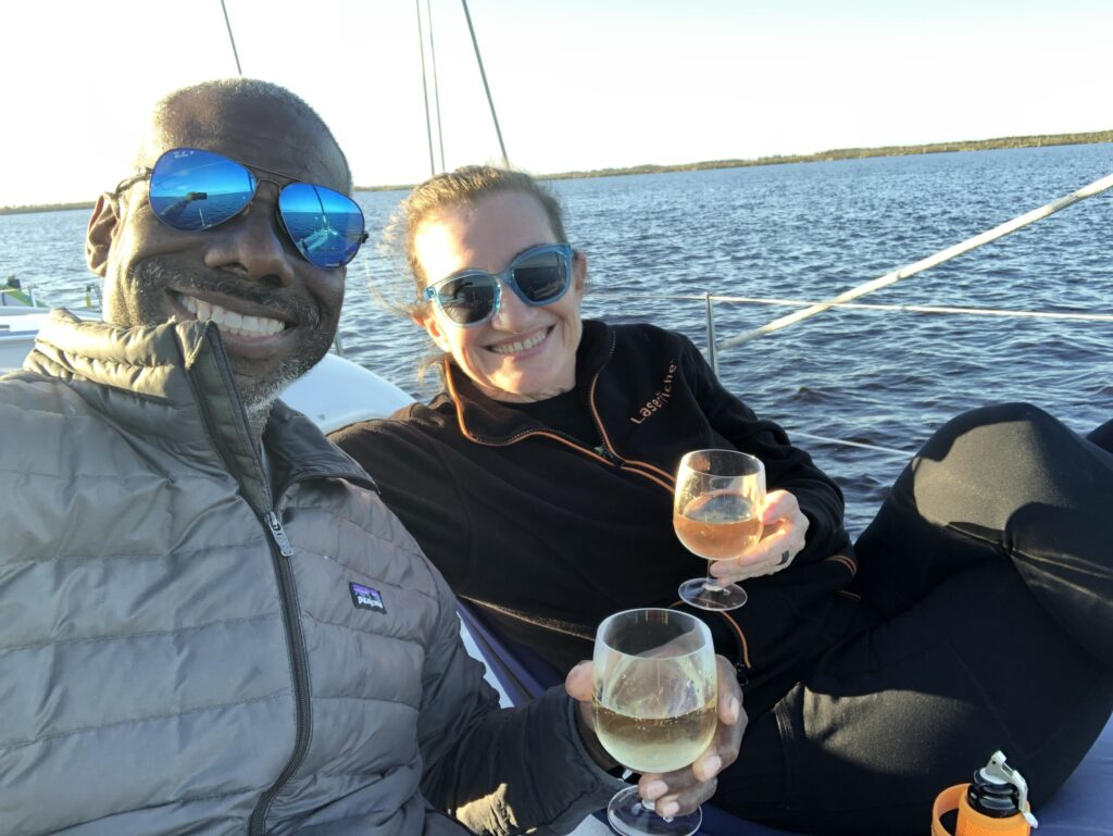 Champagne on the foredeck