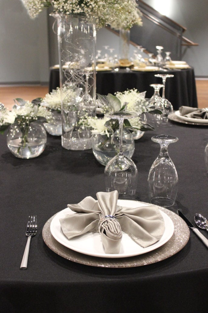 Tables set for elegant event