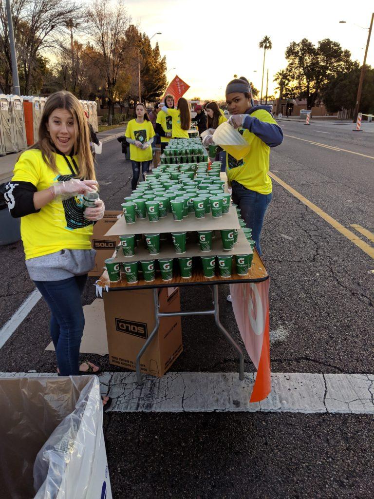 happy water station volunteers