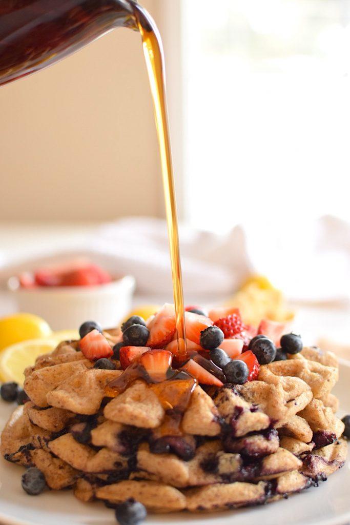 gluten free lemon blueberry waffles