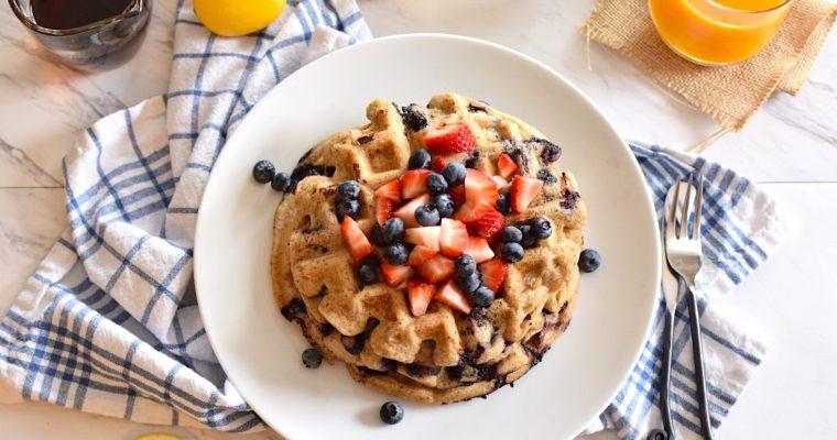 Gluten-Free Lemon, Blueberry Waffles | Anti-Candida