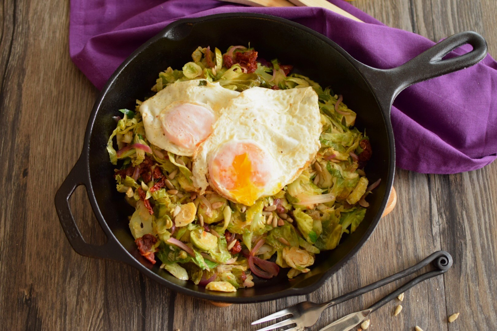 Eggs over Easy with Shredded Brussels Sprouts