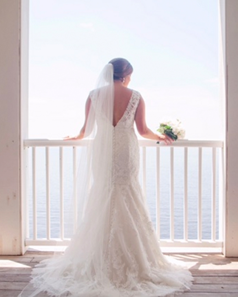 bride overlooking water, waterfront weddings in edenton nc