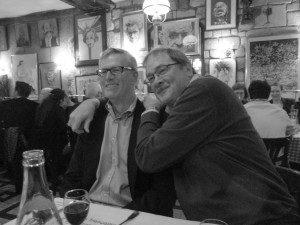 Tim (left) and my cousin at La Tour de Montlhery