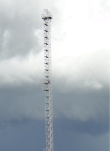 Looking up at one of the 80 meter towers already in place at the ATTO site in the Amazon (Photo courtesy of the MPI for Chemistry)