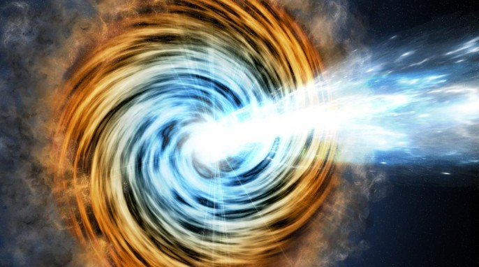 This artist's conception shows a blazar -- the core of an active galaxy powered by a supermassive black hole. The VERITAS array has detected gamma rays from a blazar known as PKS 1441+25. Researchers found that the source of the gamma rays was within the relativistic jet but surprisingly far from the galaxy's black hole. The emitting region is about five light-years away. Courtesy of M. Weiss/CfA