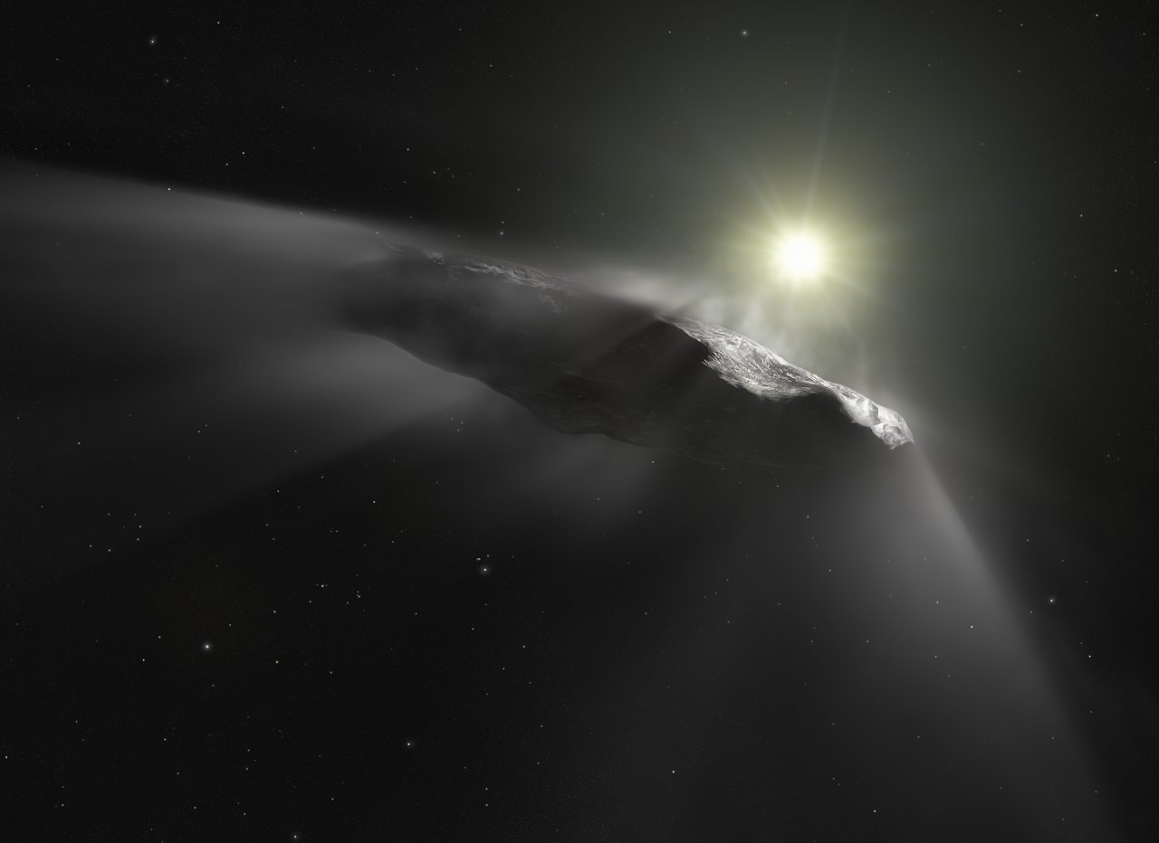 This artist's impression shows the first interstellar object discovered in the Solar System, `Oumuamua. Observations made with the NASA/ESA Hubble Space Telescope and others show that the object is moving faster than predicted while leaving the Solar System. Researchers assume that venting material from its surface due to solar heating is responsible for this behaviour. This outgassing can be seen in this artist's impression as a subtle cloud being ejected from the side of the object facing the Sun. As outgassing is a behaviour typical for comets, the team thinks that `Oumuamua's previous classification as an interstellar asteroid has to be corrected.
