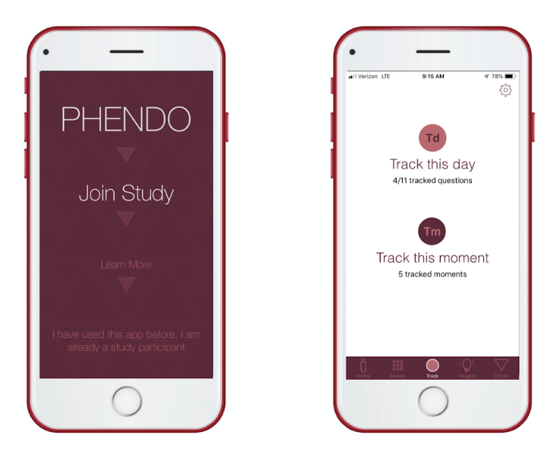 Phendo App: iPhone displaying home pages of the Phendo app (Image courtesy of Phendo)