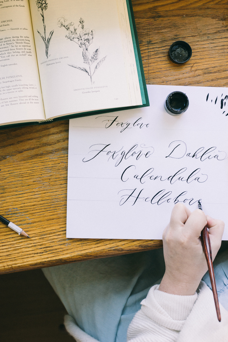 Hand Drawn Calligraphy for bouquet preservation