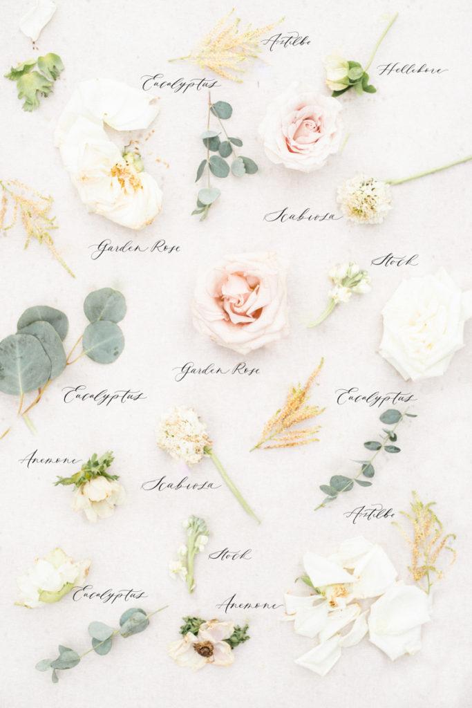 blush tan white green wedding bouquet