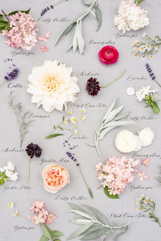 Cottage garden flower wedding bouquet