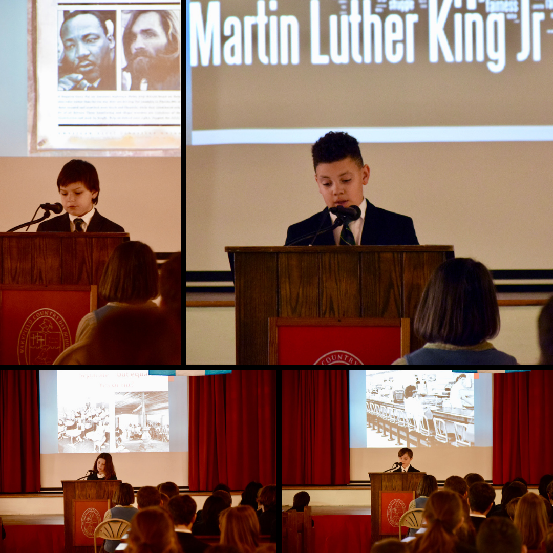 Mrs. Perry's fifth grade students delivered a very moving tribute to MLK, Jr. during Assembly.