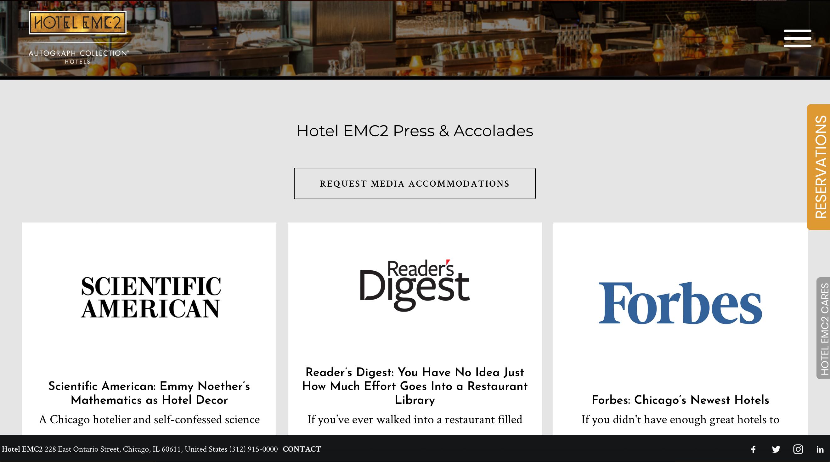 Hotel EMC2 Website 6
