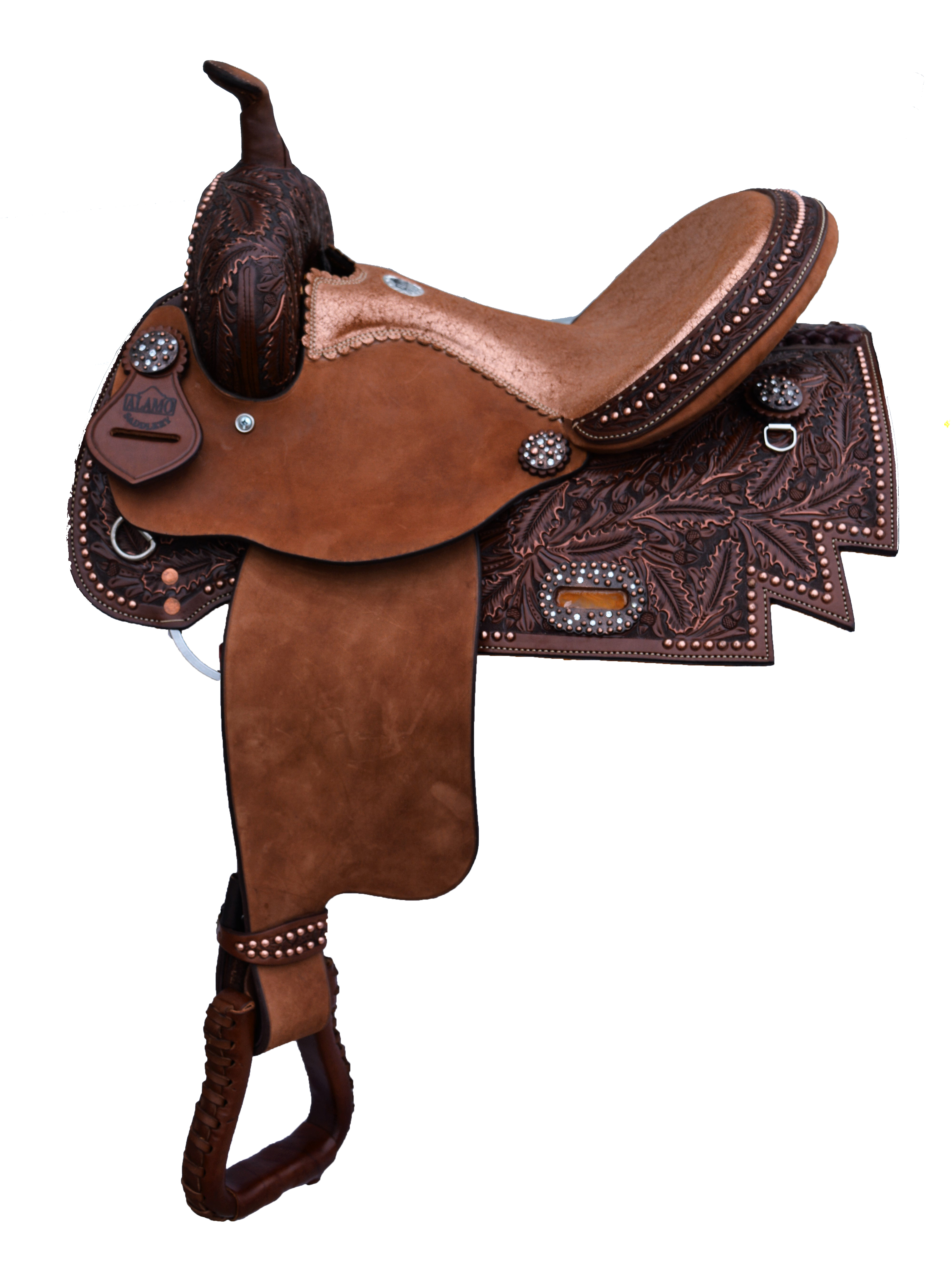 0217 BARREL SADDLE WITH DIAMOND CUT SKIRT AND COPPER CRACKLE SEAT