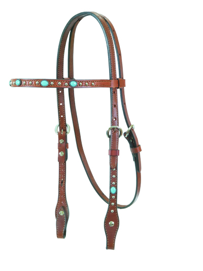 2015-TP4 HEADSTALL CARAMEL TOAST w TURQUOISE SPOTS
