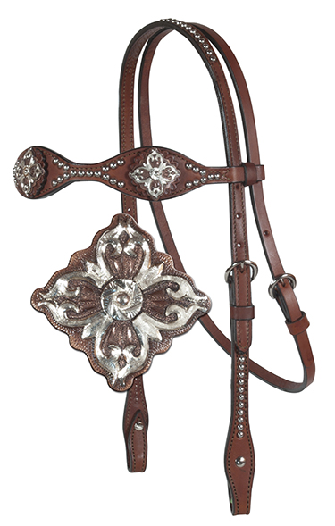 2065-TP(D6) SCALLOPED HEADSTALL, D6 CONCHOS
