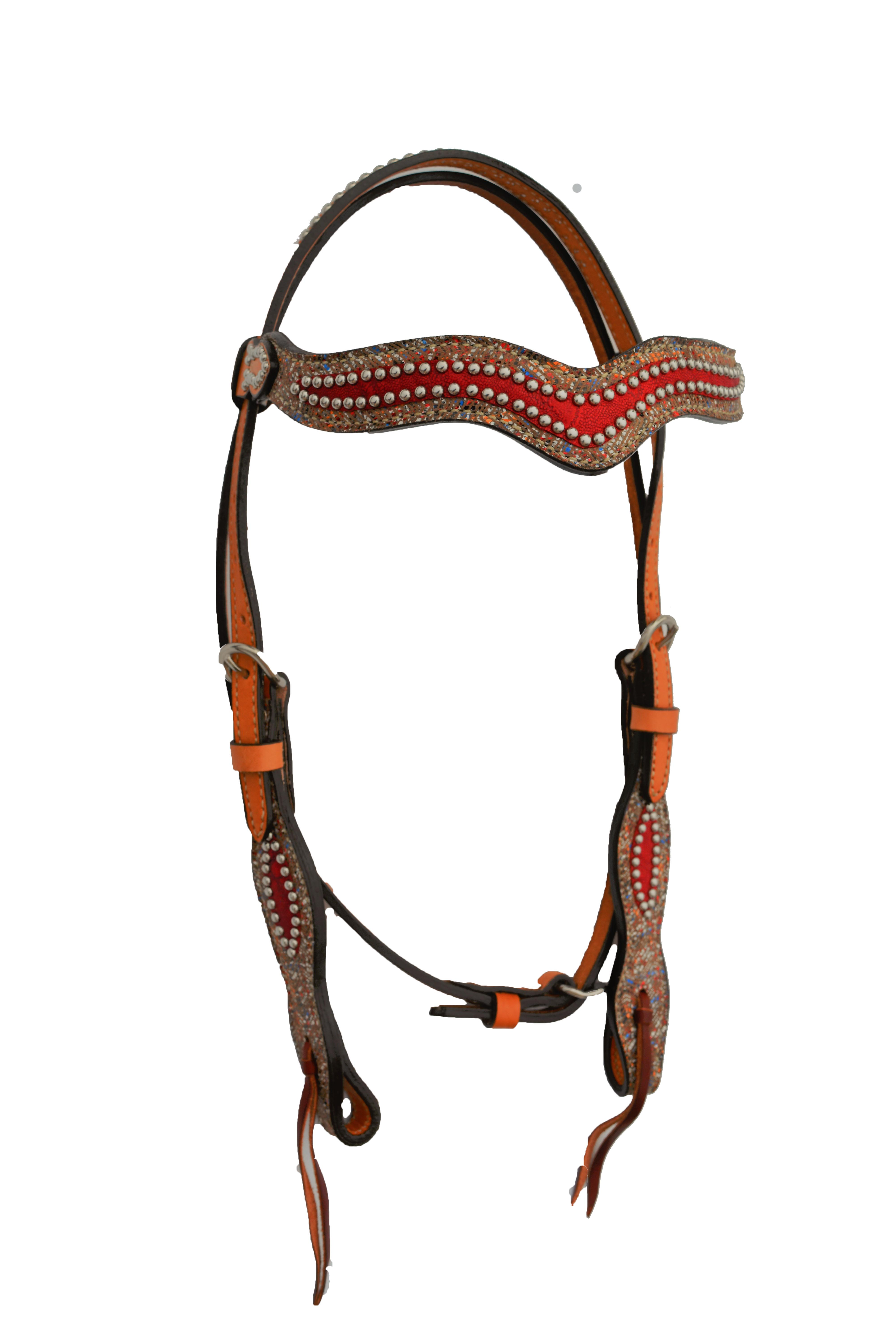 2217-EZ WAVE HEADSTALL WITH MULTIZAG AND RED ELEPHANT OVERLAYS