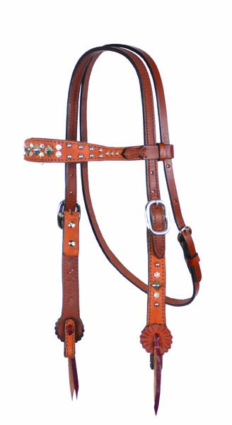 2800-ROT CONTOURED HEADSTALL WITH ROUGH OUT AND SPOTTING