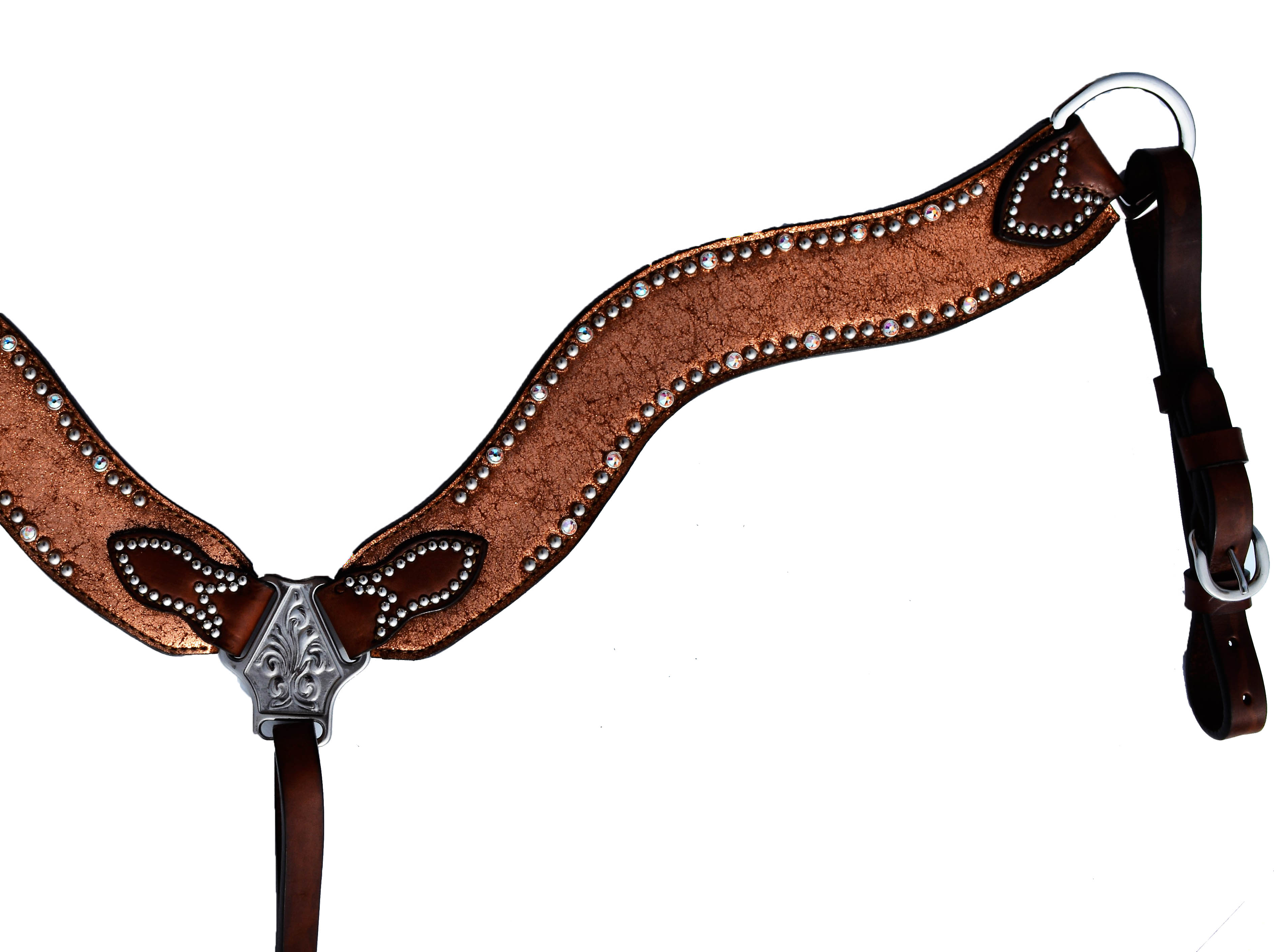 3017-JC WAVE STYLE BREASTCOLLAR WITH COPPER CRACKLE OVERLAY