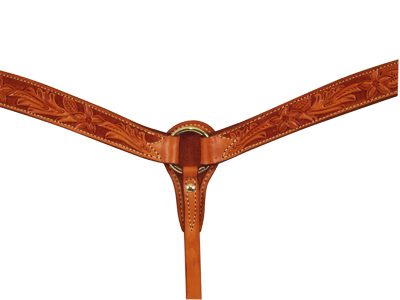 E-3023-AA ELITE RUSSET BREASTCOLLAR WITH FLORAL TOOLING