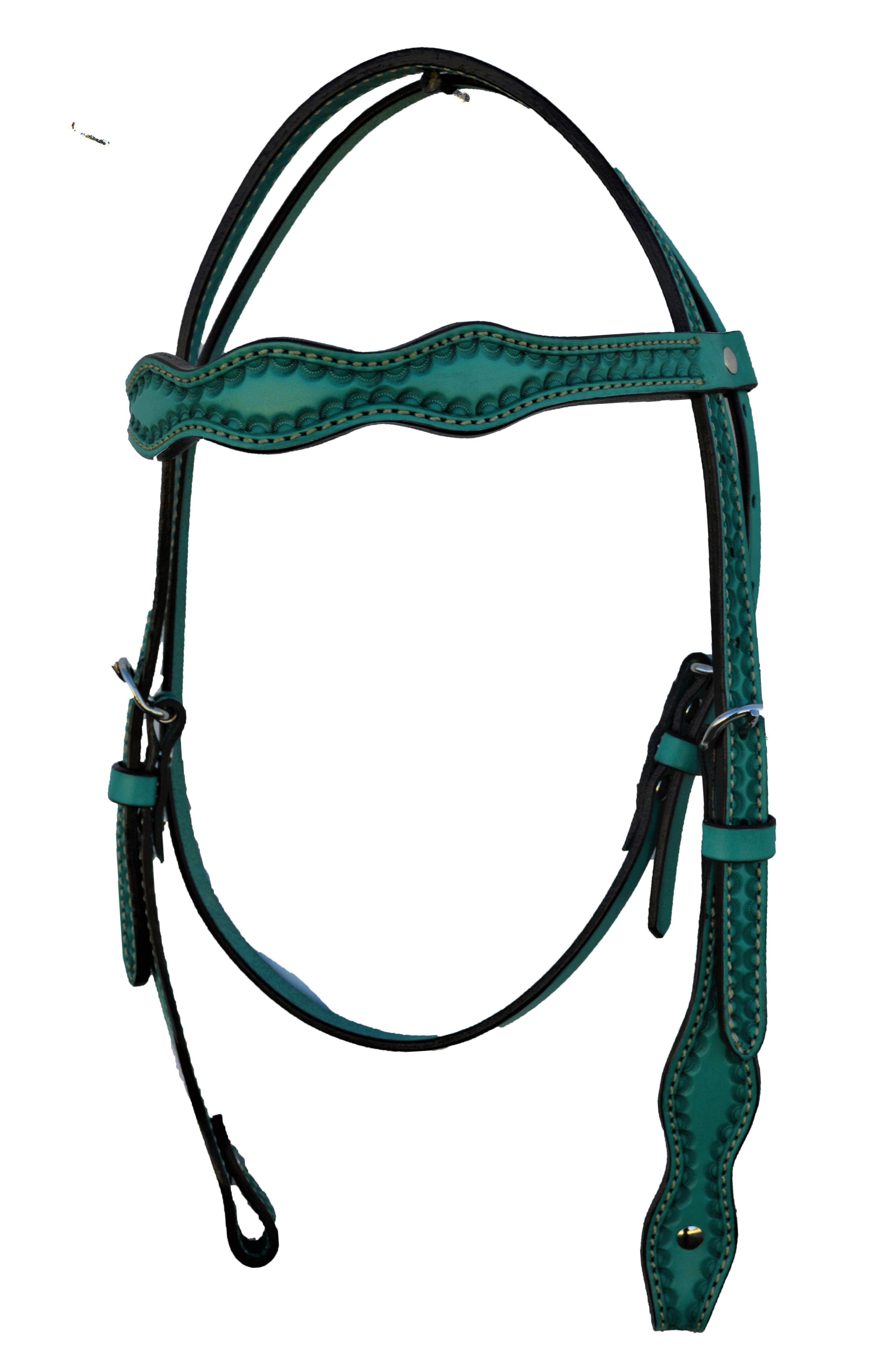 2037-Q Scalloped Headstall with Turquoise Leather