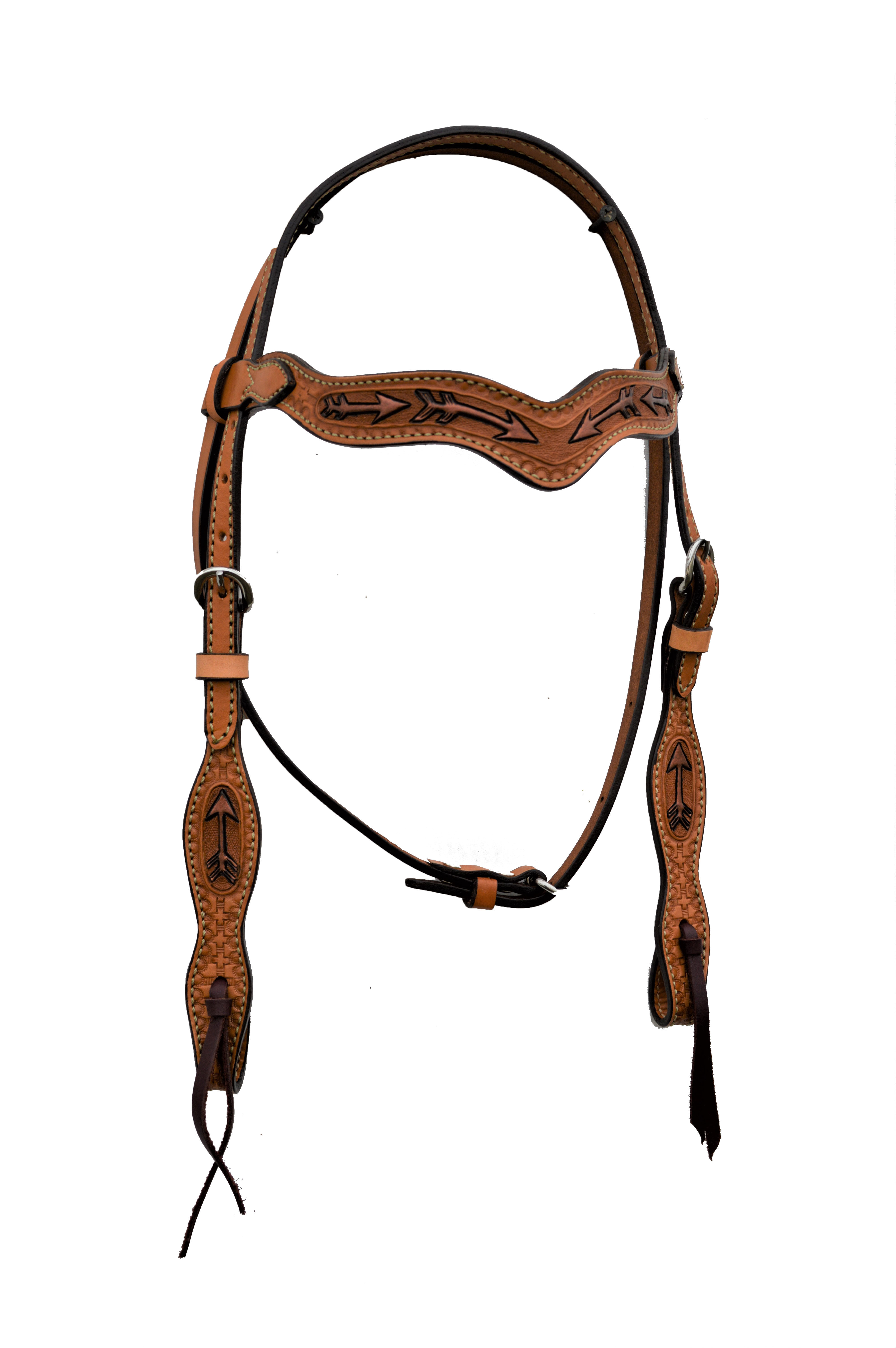 2117-RA Wave Style Headstall with Arrow Tooling