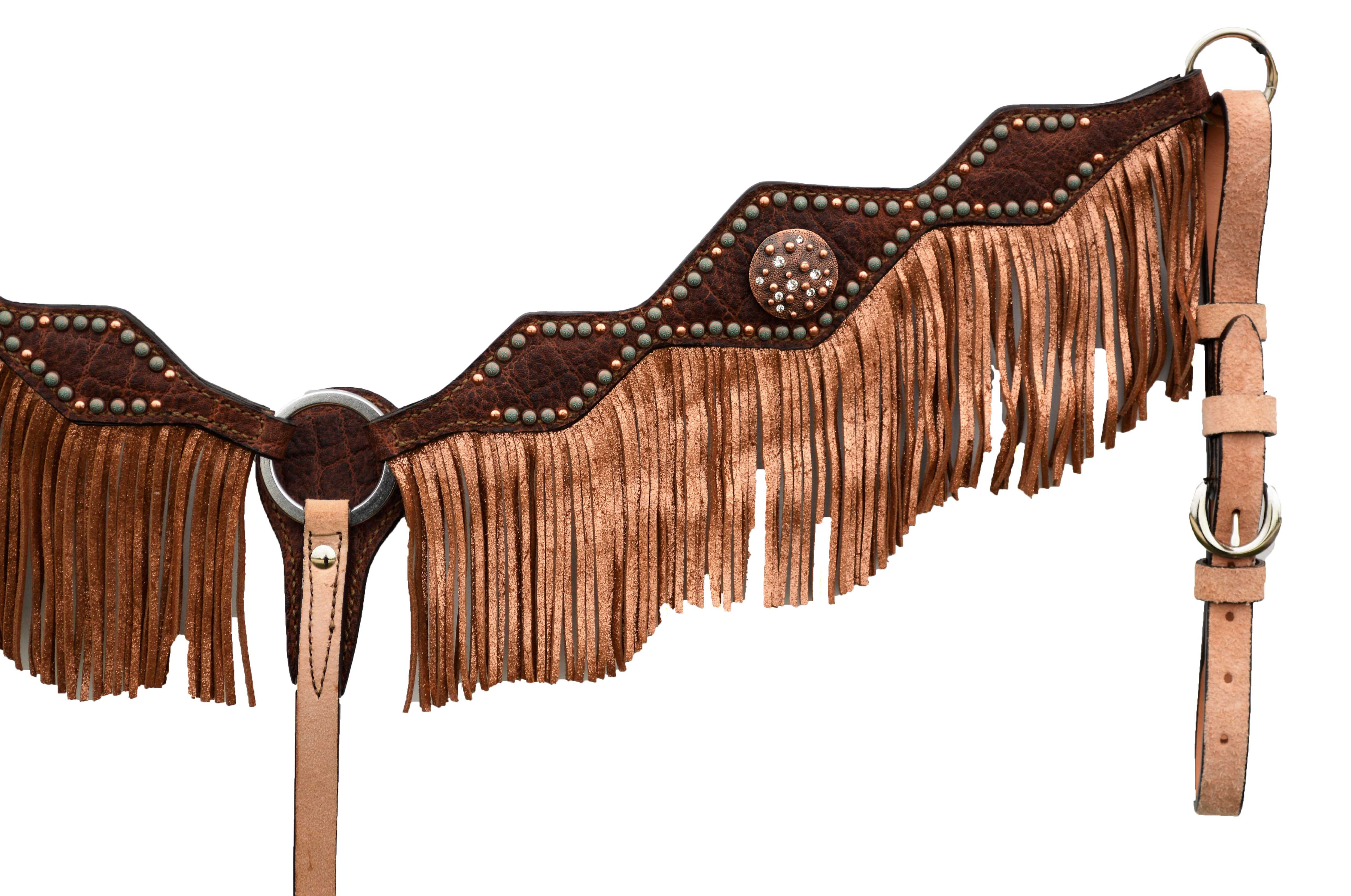 3F46-RW DIAMOND CUT BREASTCOLLAR WITH REDWOOD ELEPHANT OVERLAY WITH CI CONCHOS AND FRINGE