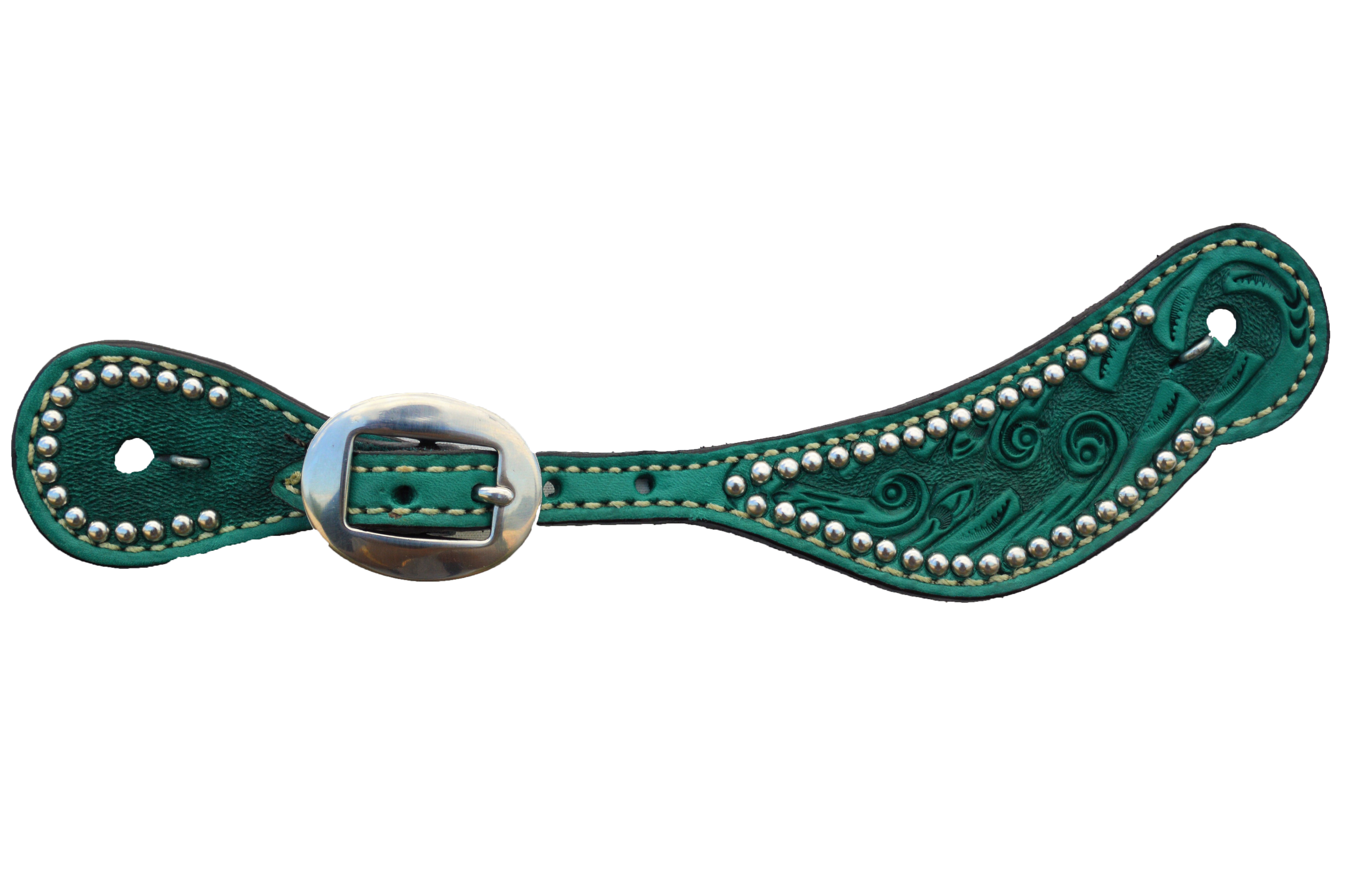 381-QP Youth Turquoise Spur Straps w/ mini ss spots, Spiral Tooling