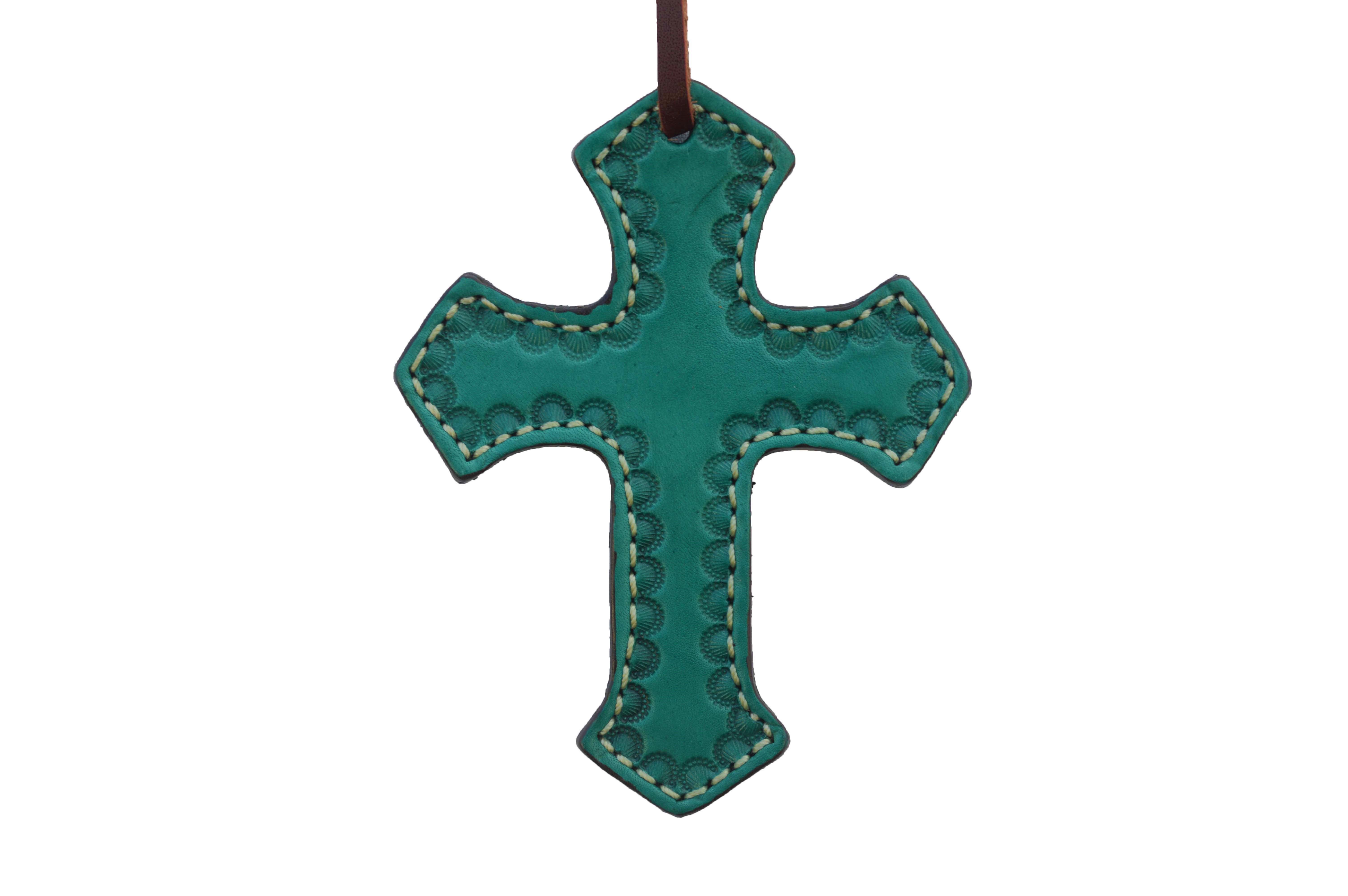 108-Q Turquoise Leather Cross