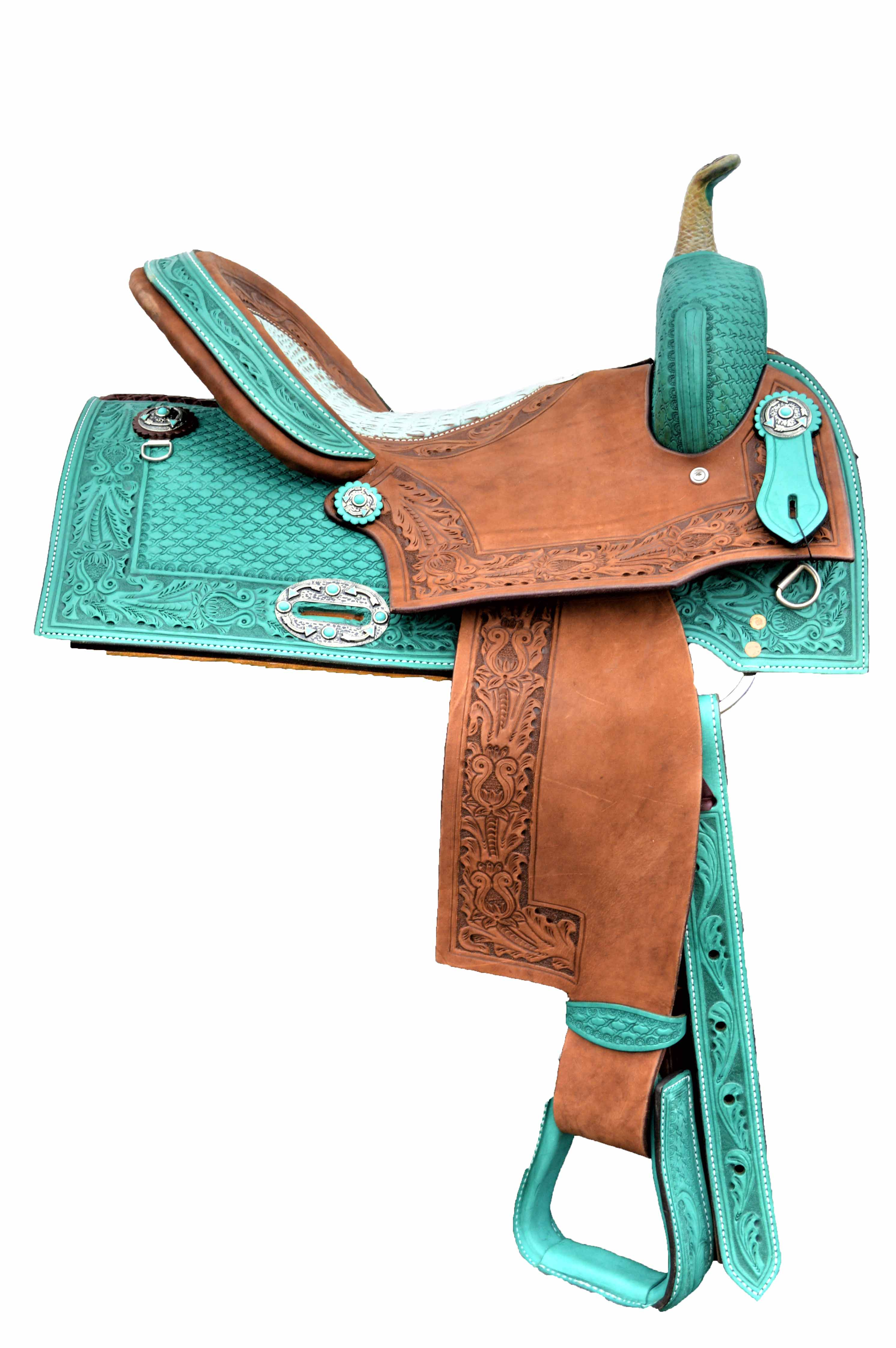 0718 Barrel/Pleasure Saddle in Turquoise leather with square cut skirt with Gator seat