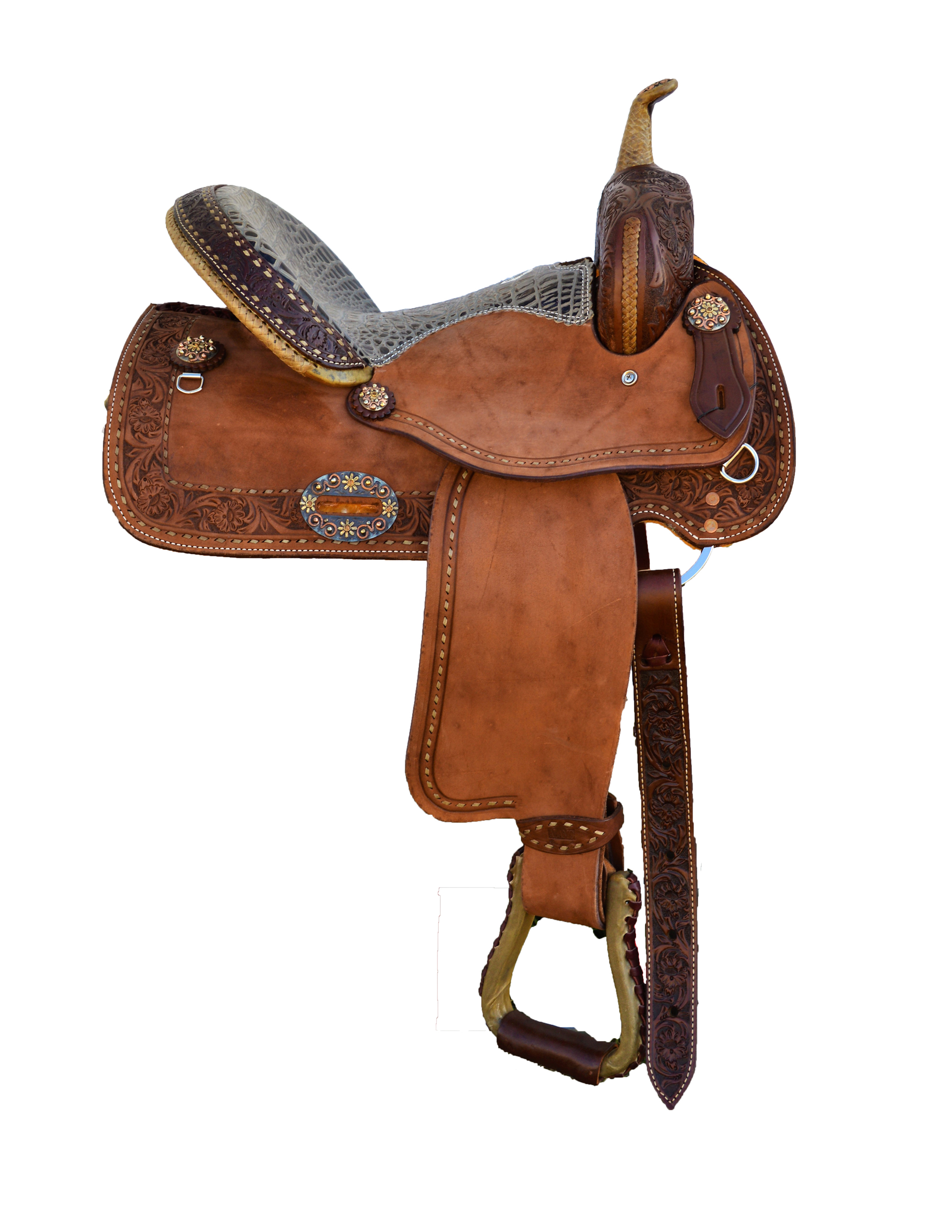 0118  Barrel Saddle in Toast Leather Smooth Roughout W/ Tooled Border Tool