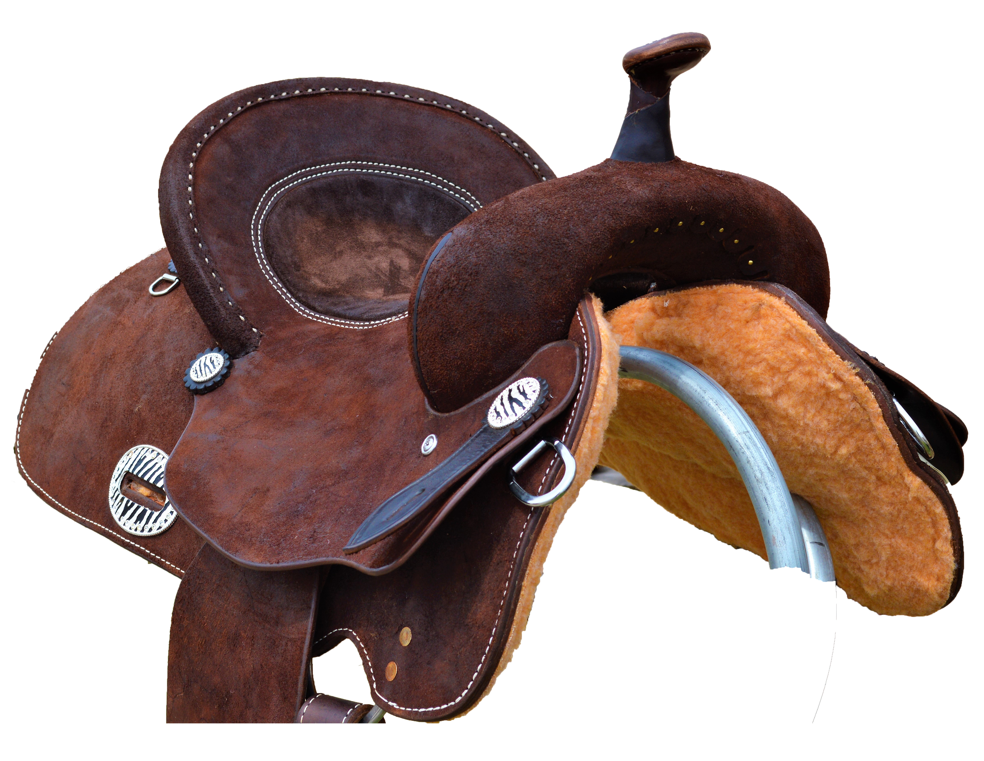 1618 Chocolate Rough Out Barrel Saddle w/ Bicycle Seat